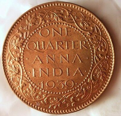 1939 BRITISH INDIA 1/4 ANNA - AU/UNC RED - Excellent Scarce Coin - BIN #AAA