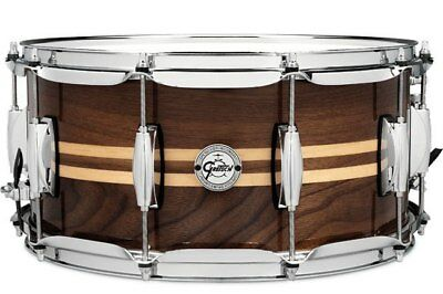 """Gretsch Silver Series 14x6.5"""" Walnut Snare with dual Maple Inlays"""