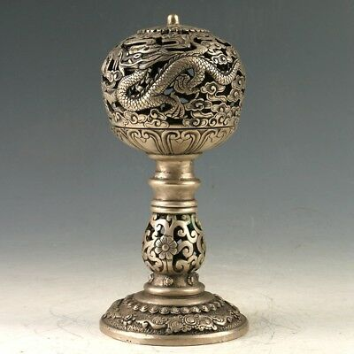 Exquisite Tibetan Silver Dragon Incense Burner MY1259