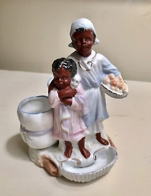 Vintage African-American Woman And Child Bisque Figurine - Toothpick Holder?