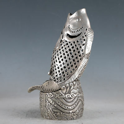 Chinese Exquisite Silvering Copper Fish Incense Burners Made By The Royal DaQing