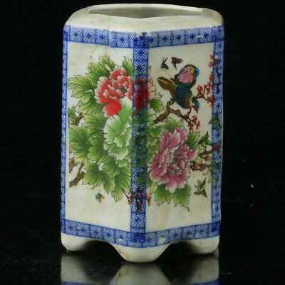 Chinese Porcelain Hand-painted Flowers & Birds Brush Pot W Qianlong Mark R1133`