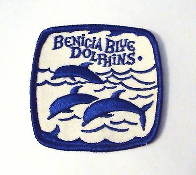 """OLD Benicia Blue Dolphins Swim Club Patch ~ Cool Dolphins 3""""x 3"""" NEW ~California"""