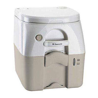 Dometic 301097502 Portable Toilet 5.0 Gallon w/Stainless Steel Hold-Down Tan