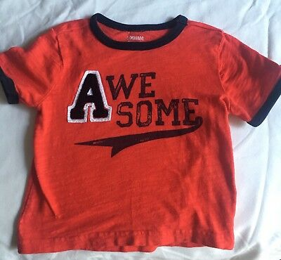 Gymboree Toddler Boys Awesome A Tee T Shirt 18-24 Months Red Blue  Summer Fall