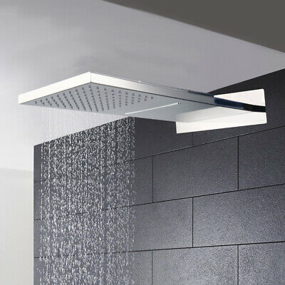 Rainfall Shower Head Rain Shower Chrome Finish Square Stainless Steel Ultra-thin