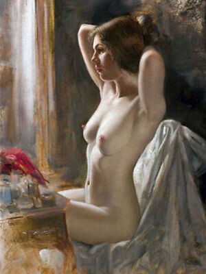LMOP672 nude lady portrait dress and make up morning art oil painting on canvas