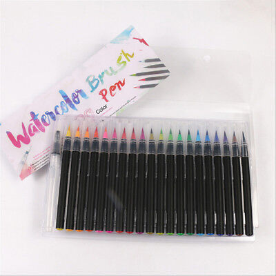 20 Colors Watercolor Fine Brush Water Based Lettering Marker Calligraphy Pen AU