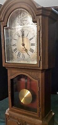 "Vintage Miniature Electric Grandfather Clock By Sunbeam Plastic Walnut Wood 19""H"