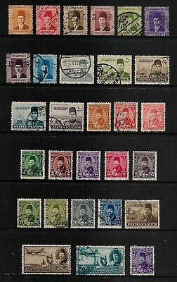 EGYPT mixed collection, 1937 1939 1944 1947 1952 King Farouk, mostly used