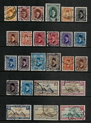 EGYPT mixed collection, 1923 1927 1936 King Fuad I, 1933 Air Mail, used