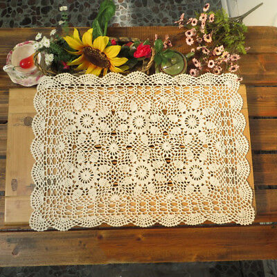"Handmade Crochet Tablecloth Cotton Lace Flower Doily Placemat Home Cover 16""x24"""