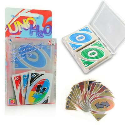 New Family Fun UNO H2O Waterproof Clear Game Playing Plastic Cards AU
