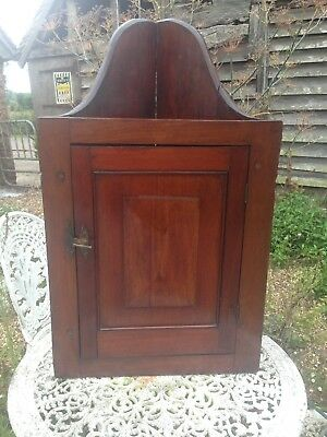 Antique Corner Cupboard, English Mahogany Victorian Wall Cabinet Hanging