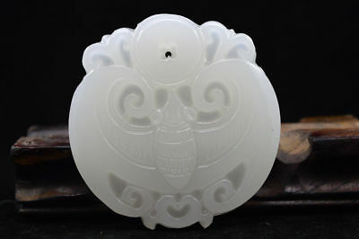 Chinese Hand carved natural white Jade Statue Pendant Bat