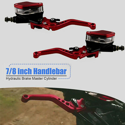 Red Aluminum Clutch Brake Master Cylinder Kit Fits 7/8-inch Handlebars Universal