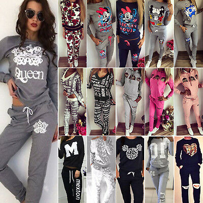 Womens Tracksuits Sweatshirt Tops Jogging Pants Sets GYM Sportswear Casual Suit