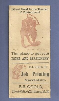 Vintage Advertising Blotter P R GOOLD BOOKS & STATIONERY PRINTING LITTLETON N H