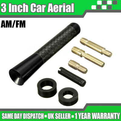 "3"" Black Carbon Car Aerial Bee Sting Mast Antenna Ariel Arial Mini Radio Stubby"