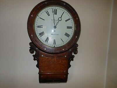 Mahogany 8 Day Fusee Drop Dial Wall Clock G.W.O.
