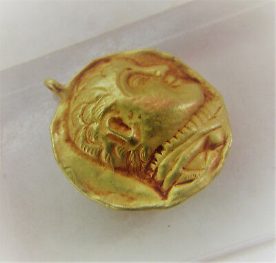 Scarce Circa 100Bc Ancient Indo Greek Gold Amulet With Ruler Impression