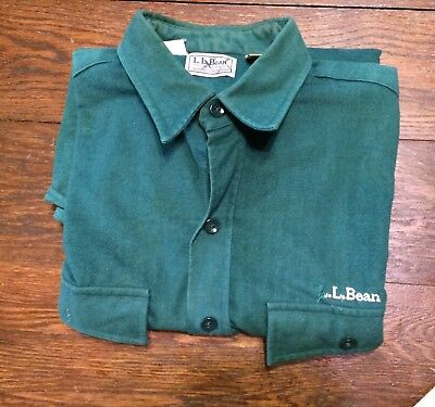 L L Bean Men's Chamois Shirt L Embroidered Usa Made Green