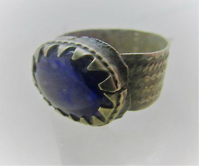 Beautiful Post Medieval Silvered Ring With Blue Stone Insert