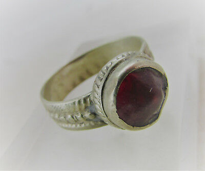 Beautiful Post Medieval Silvered Ring With Red Stone Insert