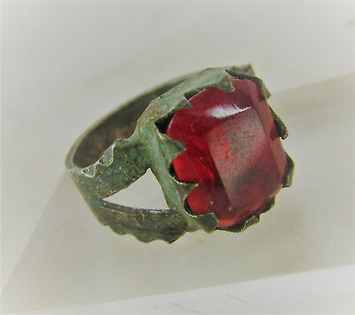 Beautiful Post Medieval Silvered Ring With Faceted Red Glass Insert