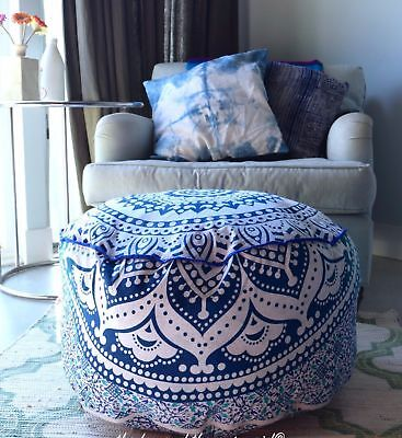 Pouf Ottoman Indian Round Ombre Mandala Pouf Pouffe Ethnic Floor Pillow Cover