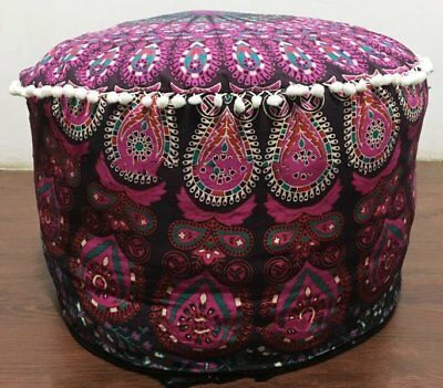Purple Ottoman Indian Round Ombre Mandala Pouf Pouffe Ethnic Floor Pillow Cover