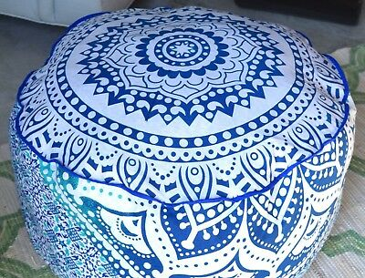 "22""Pouf Ottoman Indian Round Ombre Mandala Pouf Pouffe Ethnic Floor Pillow Cover"