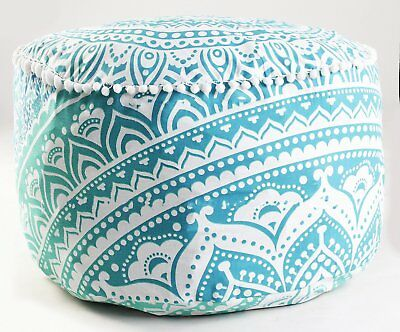 """18"""" Ottoman Pouffe Cover Round Pouf Footstool Ombre Mandala Floor Pillow Cover"""