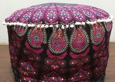 Ottoman Indian Round Ombre Mandala Pouf Pouffe Ethnic Floor Pillow Cover Purple