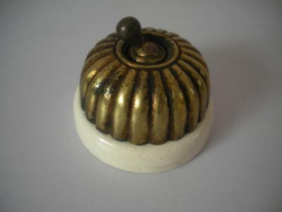 Antique brass ceramic Jelly Mould Light switch old reclaimed architetural  No1
