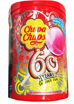 NEW Chupa Chups 100 Lollipops Bulk Lollies Jar Assorted Flavours LIMITED EDITION