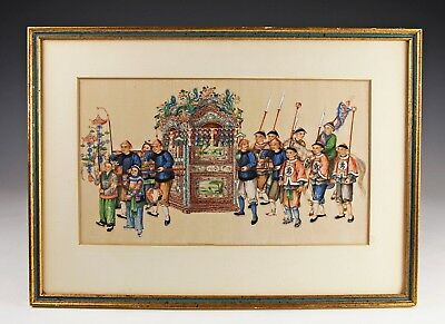 Exceptional Antique Chinese Pith Rice Paper Painting With Figures - #7 Of 10