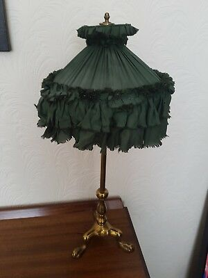 Antique Edwardian Electric Lamp On Lions Paw Feet With Shade