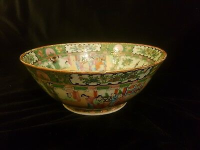 "Antique Chinese export rose medallion famille verte Canton bowl 11"" diam"
