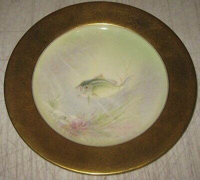 RARE Antique LENOX 'Black Bass' Fish TIFFANY & CO Painted ER DeLan CABINET Plate