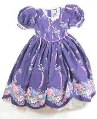Daisy Kingdom Girls Size 10/12 Vintage Purple Floral Party Dress Handmade