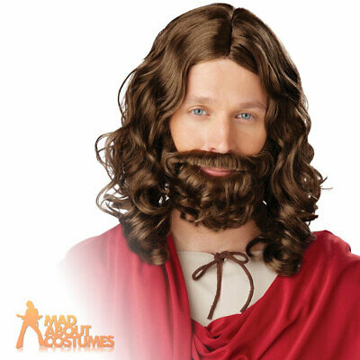 Adult Jesus Wig and Beard Set Mens Religious Fancy Dress Costume Accessory