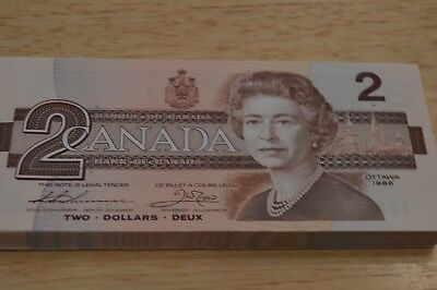 100 Canadian  1986  $2.00 Notes  -  Consecutive  -   Unc