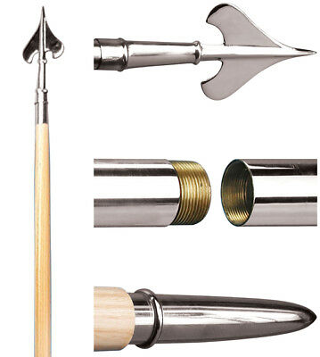 """Guidon 2-piece Indoor Parade Hardwood Flagpole Chrome Joint & Spear 7' X 1 1/4"""""""