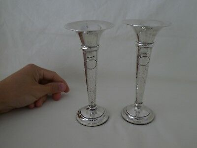 Antique WALKER & HALL Silver Trumpet Vases Sheffield 1904