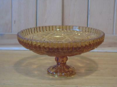 Smoked glass footed bon bon dish vintage FREE UK P & P