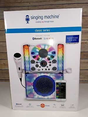SINGING MACHINE KARAOKE SYSTEM Microphone CD+G Bluetooth White LED Light