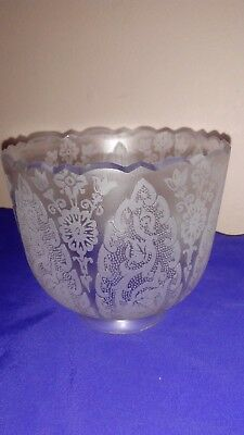 Antique/vintage Ornate Etched Flowers Oil Lamp Clear Glass Shade