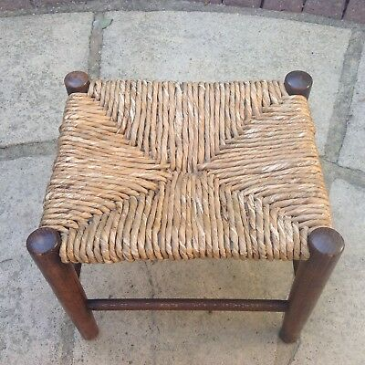 Vintage Oak Stool / Solid Oak Stool With Rush Top Seat.