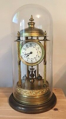 large antique German 400 day anniversary glass dome clock early 1900